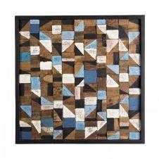 Décoration murale carrée mozaïc bois teck recyclé multicolore 73×73
