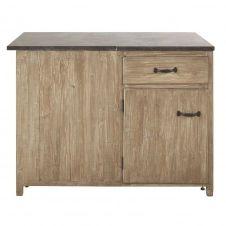 Meuble bas d'angle droit de cuisine 1 porte 1 tiroir en pin recyclé grisé Greta
