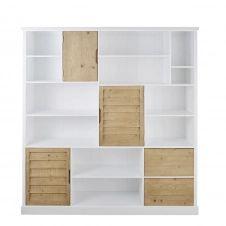 Bibliothèque 3 portes 2 tiroirs bicolore Esterel