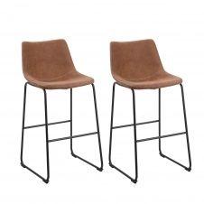 Lot de 2 chaises de bar en tissu marron