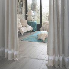 CASABLANCA – Rideau ajustable coton écru et blanc 140 x 210 à 240
