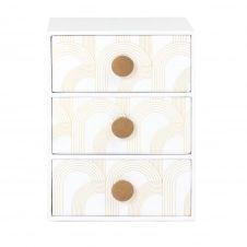 Boîte 3 tiroirs blancs à motifs graphiques dorés