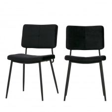 2 chaises en velours noir