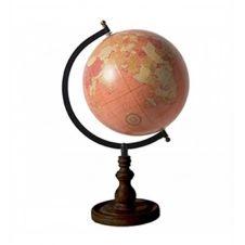 Globe terrestre rose saumon base noire D20cm
