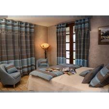 CARTHAGE – Rideau ajustable coton anthracite turquoise 140 x 210 à 240
