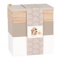 Boîte 3 compartiments imitation bois, gris et blanc