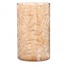 Vase en verre teinté orange feuilles gravées H21