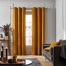 Rideau à oeillets dorés 137×280 cm Ocre