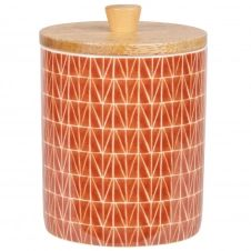 Pot en porcelaine terracotta et beige et couvercle en bambou H12