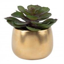 Succulente artificielle et pot en céramique dorée