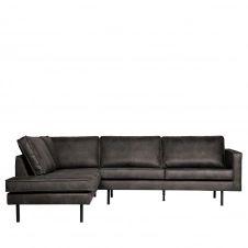 Canapé d'angle gauche vintage noir