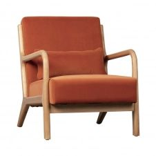 Fauteuil en bois et velours orange