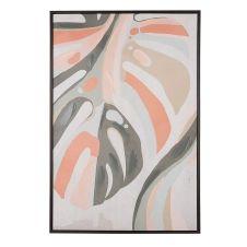 Toile imprimée multicolore feuille avec cadre 63 x 93 cm