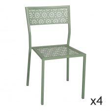 Lot de 4 chaises d'extérieur en métal vert