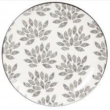 Assiette plate en porcelaine blanche à motifs noirs