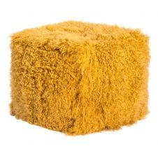 Pouf d'intérieur laine d'agneau tibétain moutarde