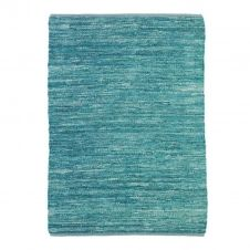 Tapis en cuir tressé bleu clair 160×230