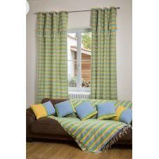 DJERBA – Rideau ajustable coton jaune turquoise vert 140 x 210 à 240