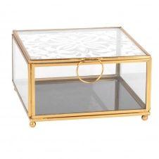 Boîte à bijoux en verre imprimé et métal doré