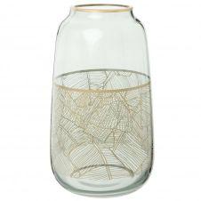 Vase en verre fumé à motifs dorés H26