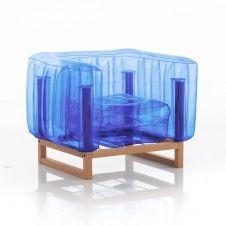 Fauteuil tpu bleu cristal cadre en bois