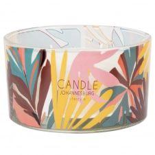 Bougie parfumée en verre motif végétal multicolore