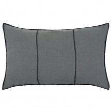 Housse de coussin en lin gris et noir 30×50