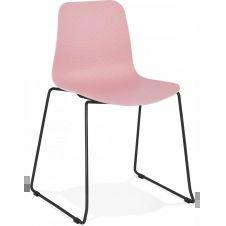 Chaise de table design assise couleur rose pietement noir
