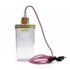 Lampe bocal à poser fil rose