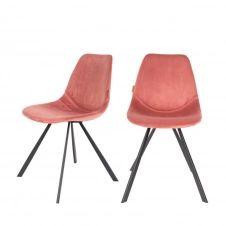 2 chaises en velours rose