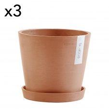 Lot de 3 pots de fleurs avec soucoupe terracotta D20