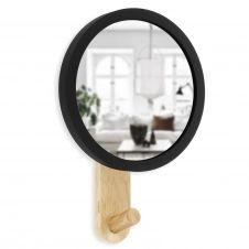 Patère avec miroir , bois naturel et contour caoutchouc