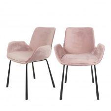 2 fauteuils de table en velours rose