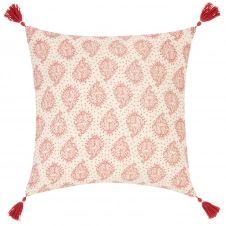 Housse de coussin en coton rose motifs rouge et doré 40×40