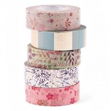Masking tape floral 1,5cmx10m – Lot de 5