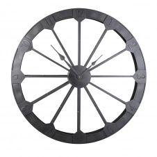 Horloge roue en métal noir mat D120