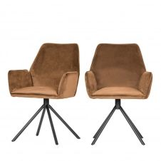 2 chaises en velours caramel