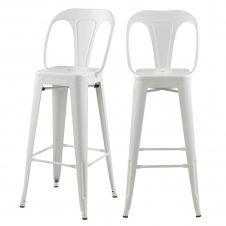 Chaise de bar 76 cm en métal blanc mat (lot de 2)