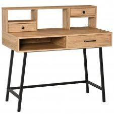 Bureau secrétaire industriel 3 tiroirs 3 niches métal noir aspect bois