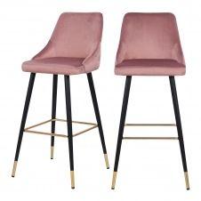 Chaise de bar 77.5 cm en velours rose (lot de 2)