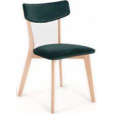 Chaise design tradition velours vert pieds bois clair
