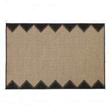 Tapis d'extérieur en polypropylène tissé beige et noir 180×270