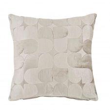 Coussin gris motifs brodés et matelassés 45×45