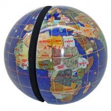 Serre livres globe terrestre en pierres fines bleu navy