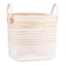 Panier carré en fibre de maïs et coton blanc