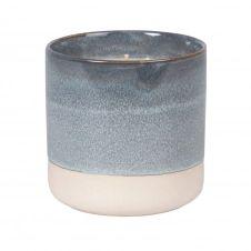 Bougie parfumée en céramique et raphia bleu et blanc
