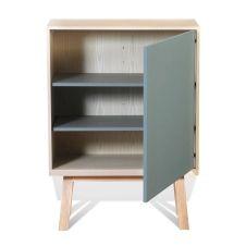 Armoire 1 porte en bois bleu gris lehon