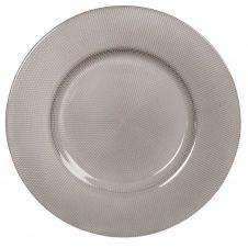 Assiette plate en verre teinté noir