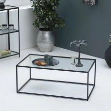 Table basse en métal noir mat plateau en verre Nevada