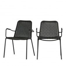 Lot 2 chaises de jardin design noir
